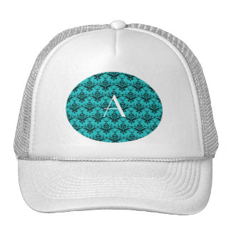 Monogram Turquoise damask Trucker Hat