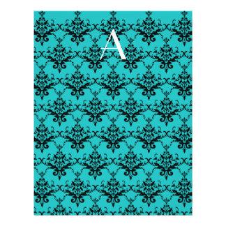 Monogram Turquoise damask Flyer Design