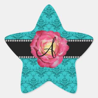 Monogram turquoise damask pink rose stickers
