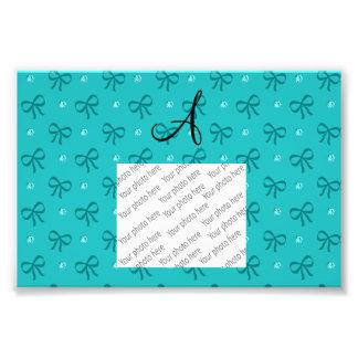 Monogram turquoise diamonds and bows photo print