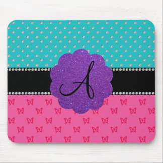 Monogram turquoise diamonds pink butterflies mousepad