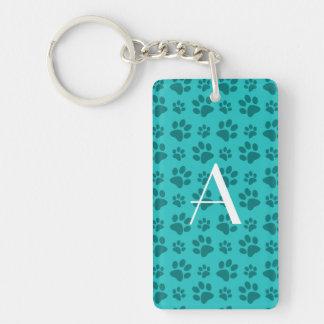 Monogram turquoise dog paw prints keychains