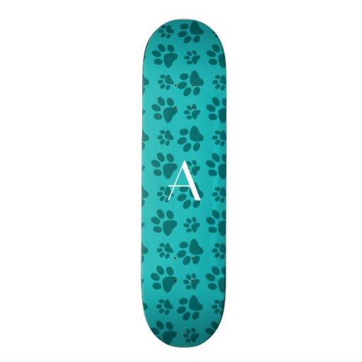 Monogram turquoise dog paw prints custom skate board