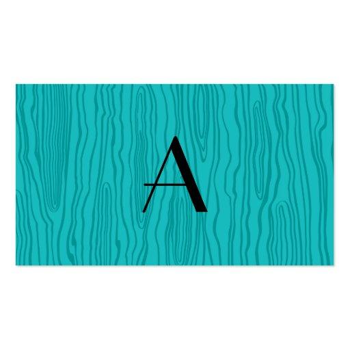 Monogram turquoise faux bois business card