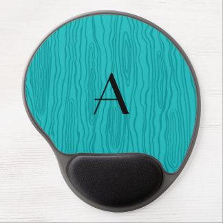 Monogram turquoise faux bois gel mousepad