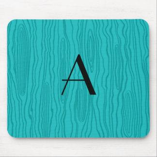Monogram turquoise faux bois mouse pad