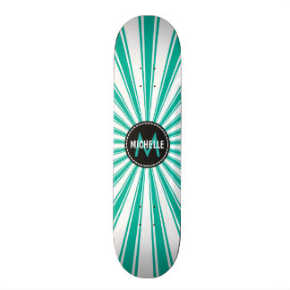 Monogram Turquoise Funky Sun Rays Pattern Skate Board Deck