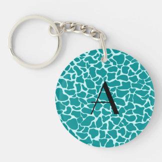 Monogram turquoise giraffe print keychains