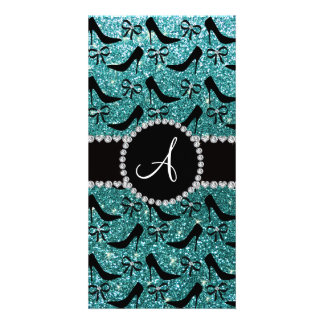 Monogram turquoise glitter black high heels bow customized photo card