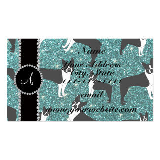 Monogram turquoise glitter boston terriers pack of standard business cards