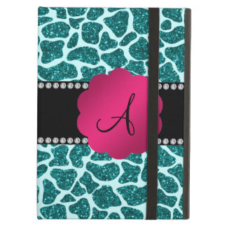 Monogram turquoise glitter giraffe print iPad air case