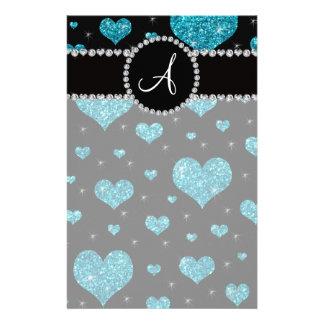 Monogram turquoise glitter hearts black diamonds stationery