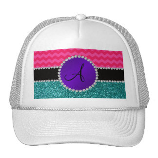 Monogram turquoise glitter hot pink chevrons hat