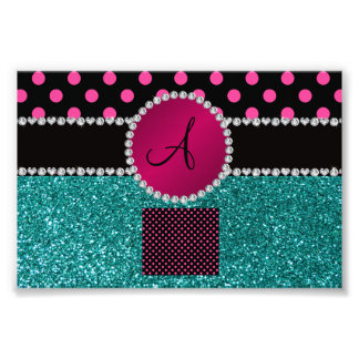 Monogram turquoise glitter pink black dots photograph