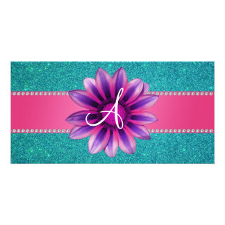 Monogram turquoise glitter pink daisy photo card