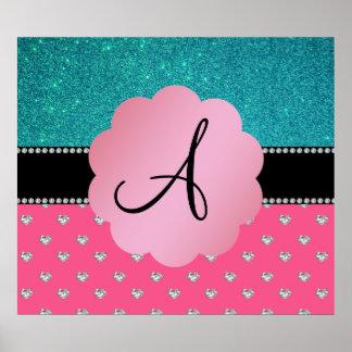 Monogram turquoise glitter pink heart diamonds posters
