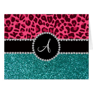 Monogram turquoise glitter pink leopard greeting cards