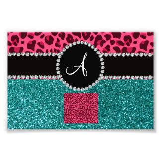 Monogram turquoise glitter pink leopard photograph