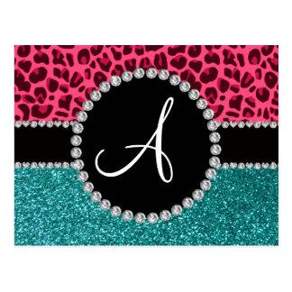 Monogram turquoise glitter pink leopard postcard