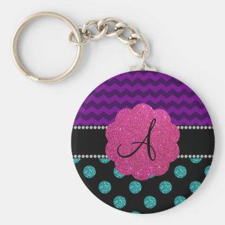Monogram turquoise glitter polka dots key chain