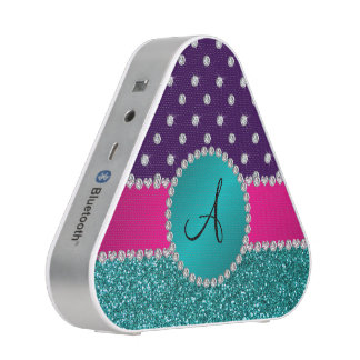 Monogram turquoise glitter purple diamonds