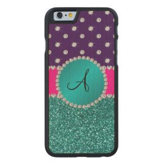 Monogram turquoise glitter purple diamonds carved® maple iPhone 6 case
