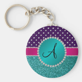 Monogram turquoise glitter purple diamonds keychains