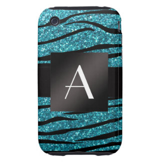 Monogram turquoise glitter zebra stripes tough iPhone 3 case