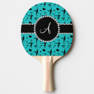 Monogram turquoise gymnastics hearts bows ping pong paddle