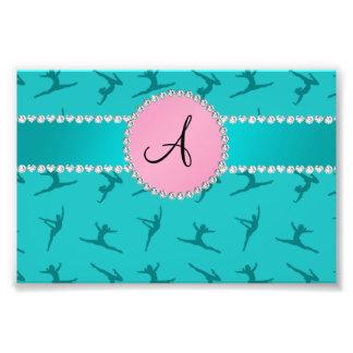 Monogram turquoise gymnastics pink circle photographic print