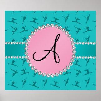 Monogram turquoise gymnastics pink circle poster
