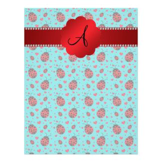 Monogram turquoise ladybugs hearts pattern 21.5 cm x 28 cm flyer