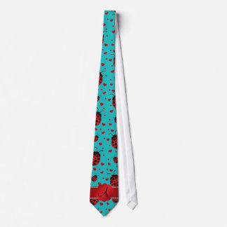 Monogram turquoise ladybugs hearts pattern tie