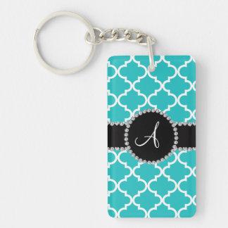 Monogram turquoise moroccan quatrefoil acrylic key chain