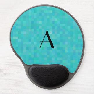 Monogram turquoise mosaic squares gel mouse pad
