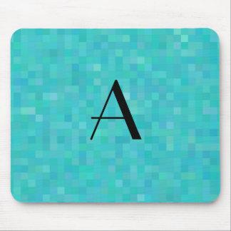 Monogram turquoise mosaic squares mouse pad