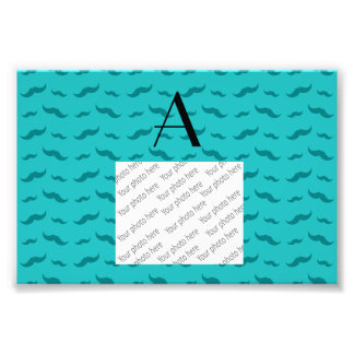Monogram turquoise mustache pattern photographic print