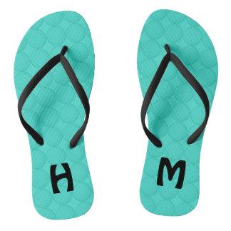 Monogram Turquoise Pattern Flip Flops