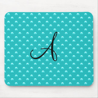 Monogram turquoise pearl polka dots mouse pad