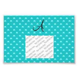 Monogram turquoise pearl polka dots photo