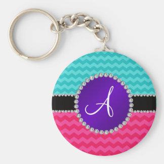 Monogram turquoise pink chevrons purple diamonds key chain