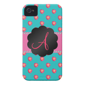 Monogram turquoise pink roses iPhone 4 covers