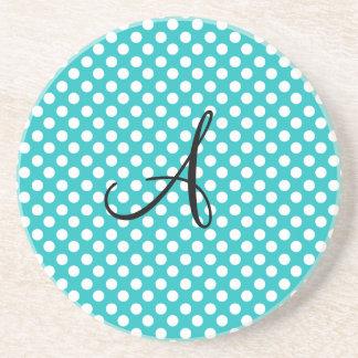 Monogram turquoise polka dots coaster