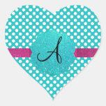 Monogram turquoise polka dots heart sticker