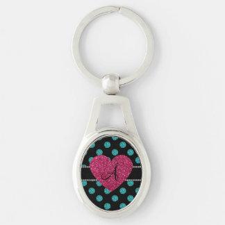 Monogram turquoise polka dots pink heart keychain