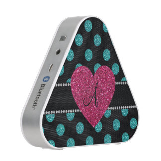 Monogram turquoise polka dots pink heart bluetooth speaker