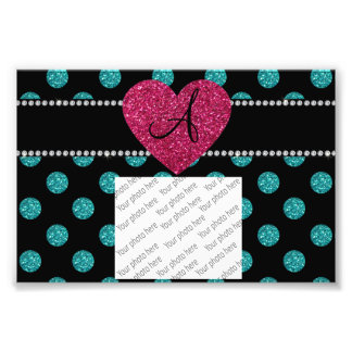 Monogram turquoise polka dots pink heart photo