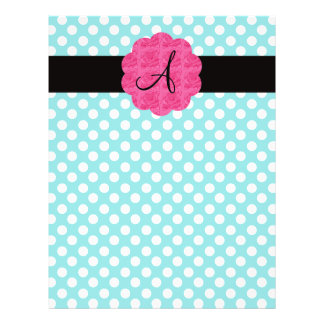 Monogram turquoise polka dots roses personalized flyer