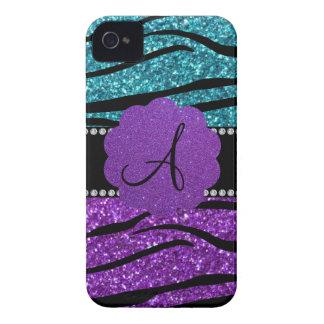 Monogram turquoise purple glitter zebra stripes iPhone 4 case