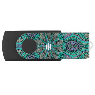 Monogram Turquoise Purple Mandala USB Flash Drive